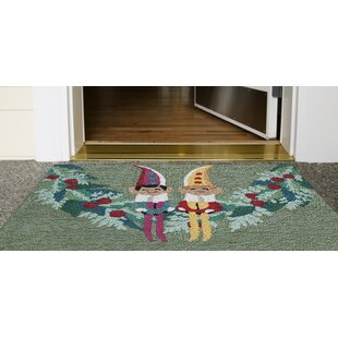 Stamper Festive Elves Hand-Tufted Green Indoor/Outdoor Area Rug