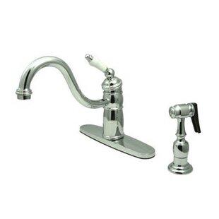 Elements of Design Heritage Singe Handle Centerset Kitchen Faucet with Porcelain Lever Handles