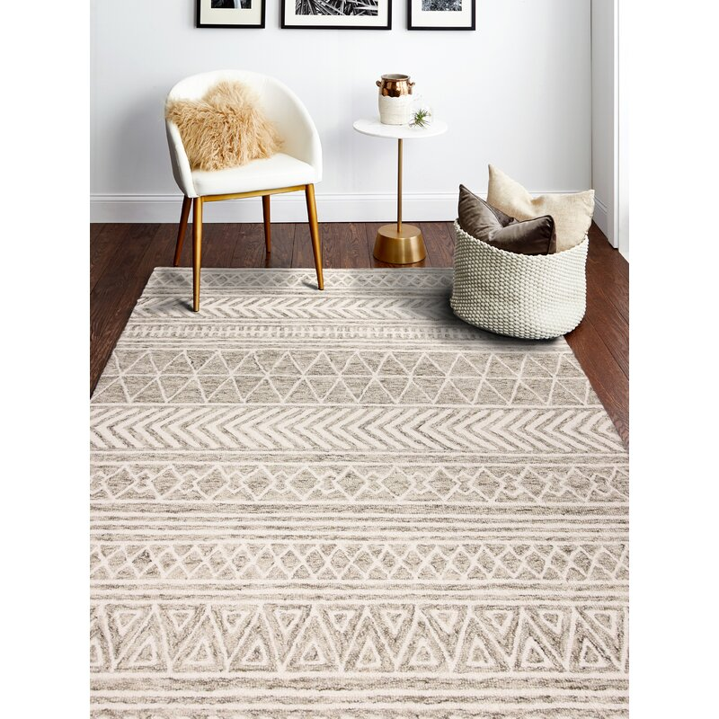 Foundry Select Shankle Geometric Handmade Tufted Wool Beige Area Rug Reviews Wayfair