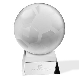 Matashi Crystal Crystal Etched Soccer Ball Ornament and Trapezoid Base Paper Weight