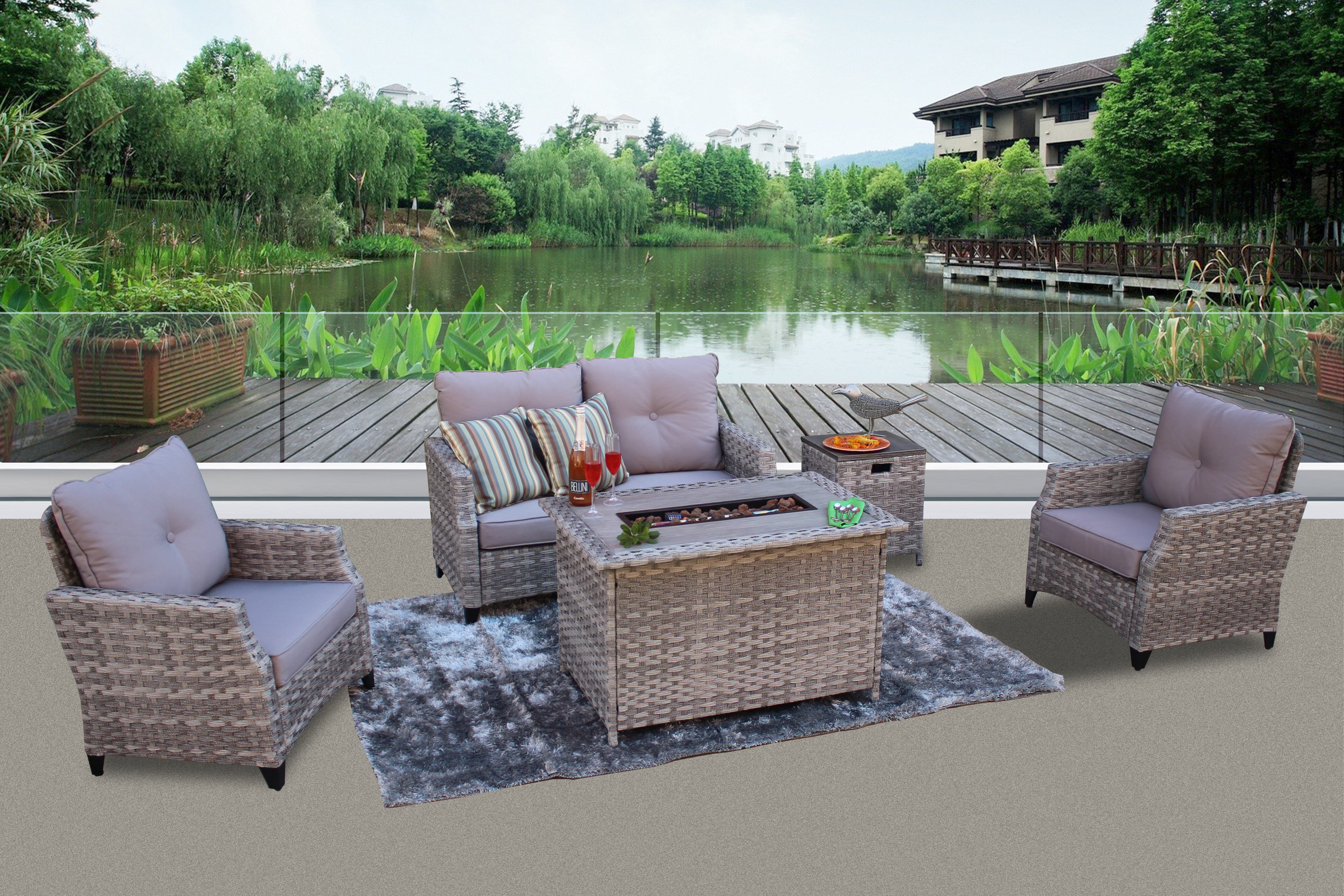 Darby Home Co Chu 5 Piece Rattan Sofa Seating Group with Cushions