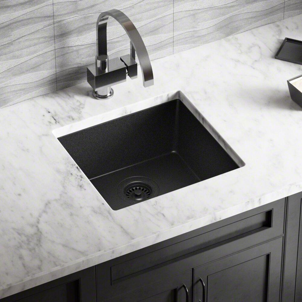 Mrdirect granite composite 18 l x 17 w undermount kitchen sink with strainer reviews wayfair