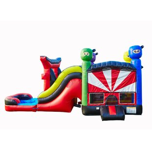 JumpOrange Ninja Shinobi Titan Inflatable Water Slide Combo Bounce House