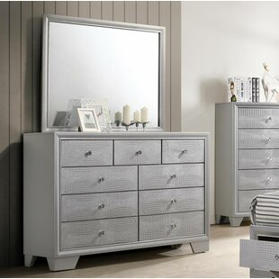 Wash 9 Drawer Double Dresser with Mirror