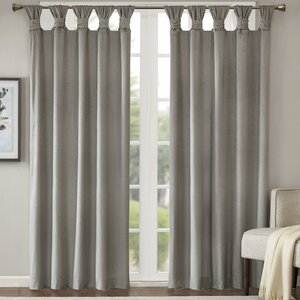 Lewiston Printed Poly Velvet Twisted Solid Room Darkening Tab Top Single Curtain Panel