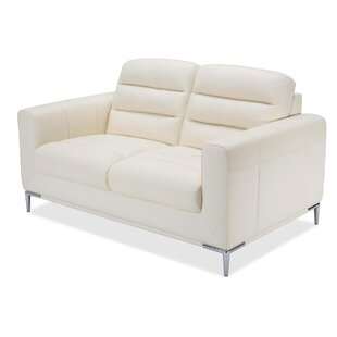 Shop Mia Bella Elena Leather Loveseat by Michael Amini