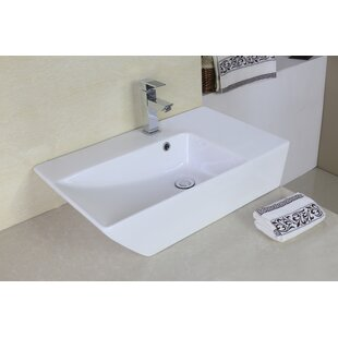Order Ceramic Rectangular Vessel Bathroom Sink with Overflow ByAmerican Imaginations