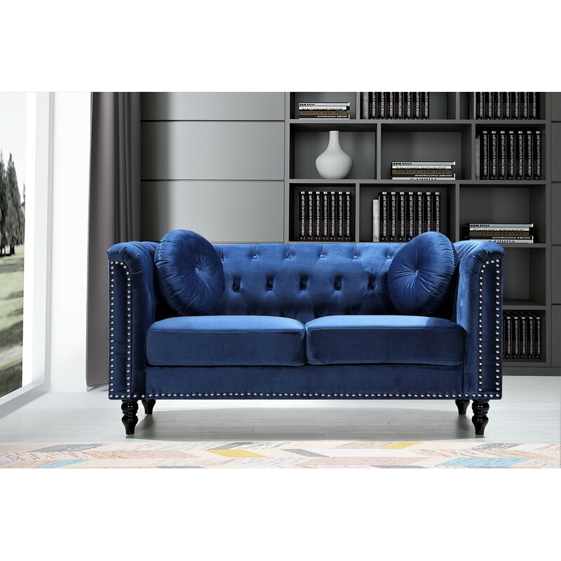 """Whetzel Chesterfield 64"""" Rolled Arms Loveseat"""