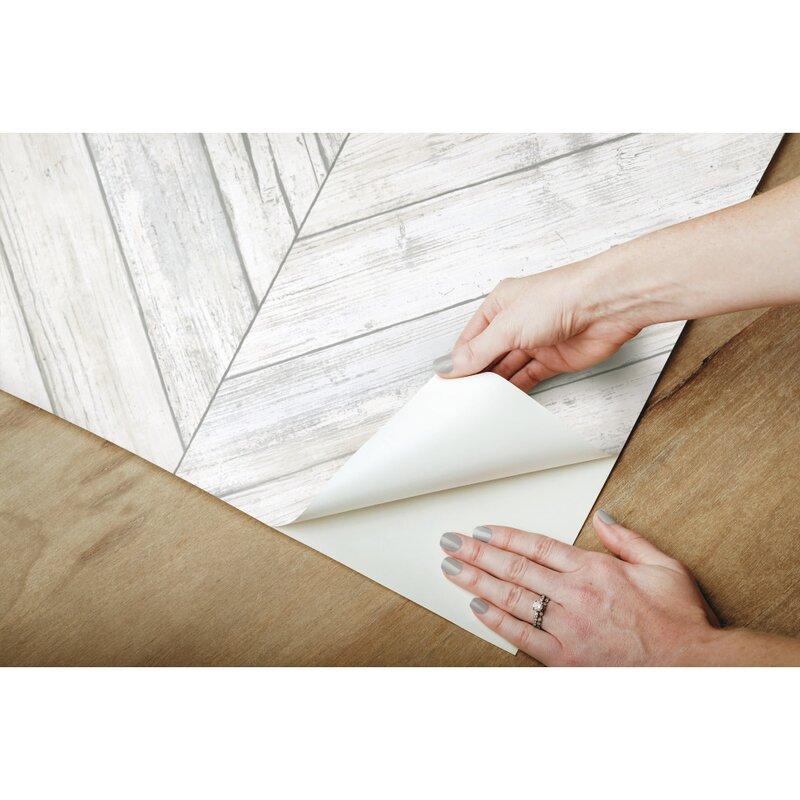 Foundry Select Healdton Herringbone Wood Boards 16 5 L X 20 5 W Peel And Stick Wallpaper Roll Reviews Wayfair