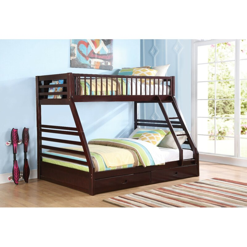 Bacourt Wooden Extra Long Twin Over Queen Bunk Bed With Drawers