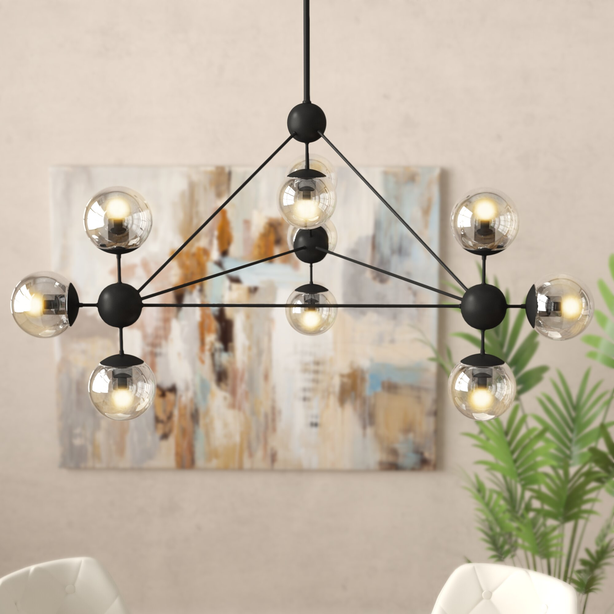 Ivy Bronx Julius 10 Light Sputnik Modern Linear Chandelier Reviews Wayfair