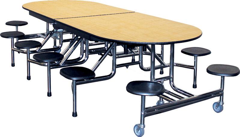 Attirant Rectangular Round Cafeteria Table