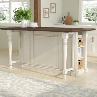 Almira Kitchen Island with Wood Top August Grove