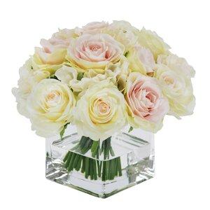 Rose Bouquet in Square Vase Floral Arrangements