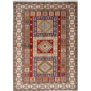 One-of-a-Kind Royal Kazak Hand-Knotted Red/Beige Area Rug