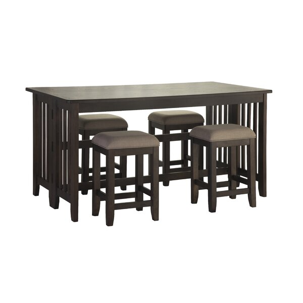 Red Barrel Studio 5 Piece Counter Dining Table With Drop Leaf And 4 Stools In Drop Leaf Reviews Wayfair