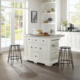 Julia Island In White With Ava Stool by Canora Grey