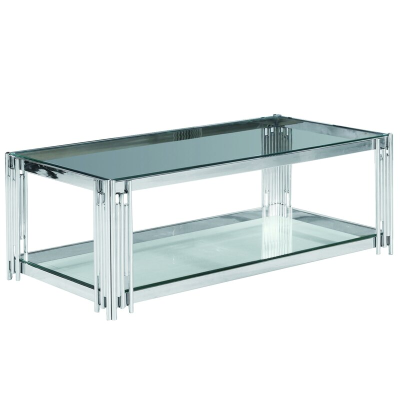 Everly Quinn Harrell Floor Shelf Coffee Table With Storage Wayfair