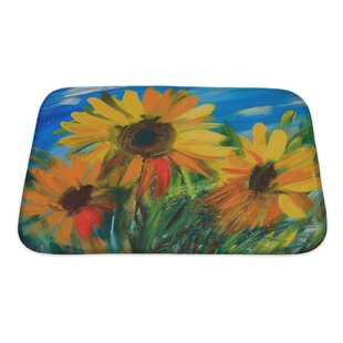 Flowers Sunflowers Drawn by Oil on Canvas Bath Rug By Gear New