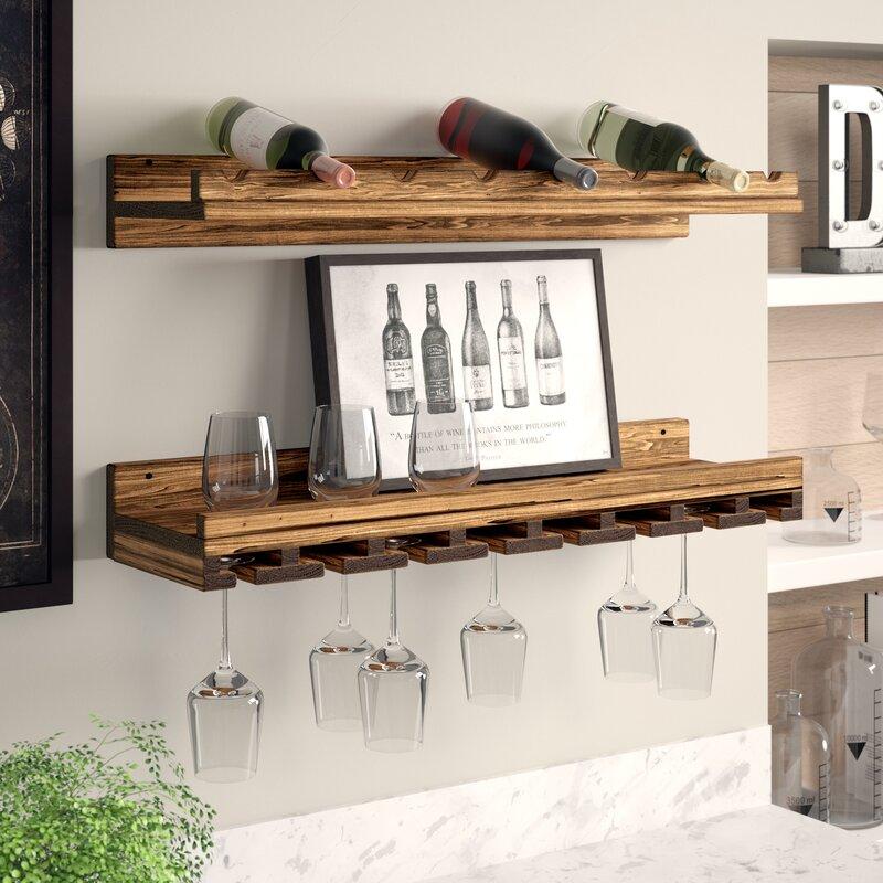 Trent Austin Design Berlyn Solid Wood Wall Mounted Wine Bottle & Glass Rack