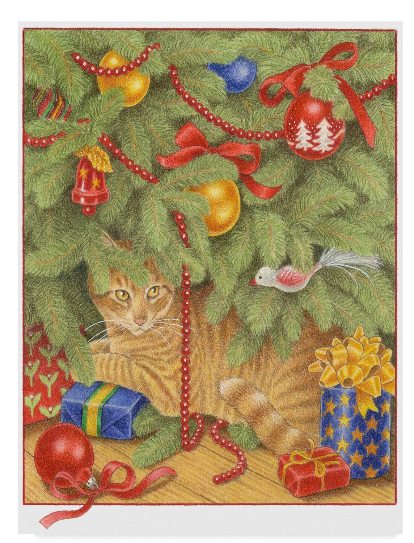 Trademark Art Christmas Tree Orange Cat Acrylic Painting Print On Wrapped Canvas Wayfair