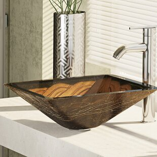 René By Elkay Metallic Glass Square Vessel Bathroom Sink with Faucet