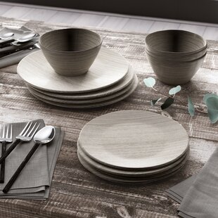 Friese French Oak 12 Piece Melamine Dinnerware Set, Service for 4
