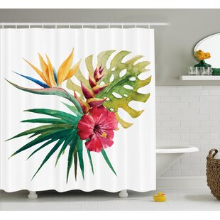 Aquilina Wild Tropical Orchid Shower Curtain + Hooks
