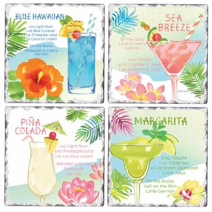 Tumbled Tile Tropical Drinks Coaster