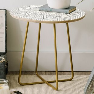Holli Zollinger Line Mandala Round End Table by East Urban Home
