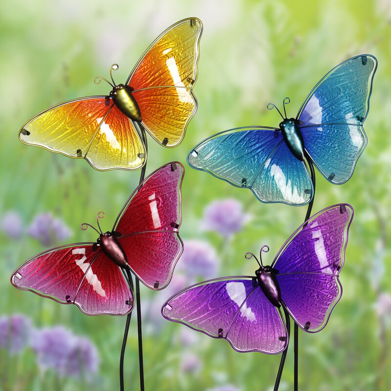 Disanto Glass Butterfly Garden Stakes