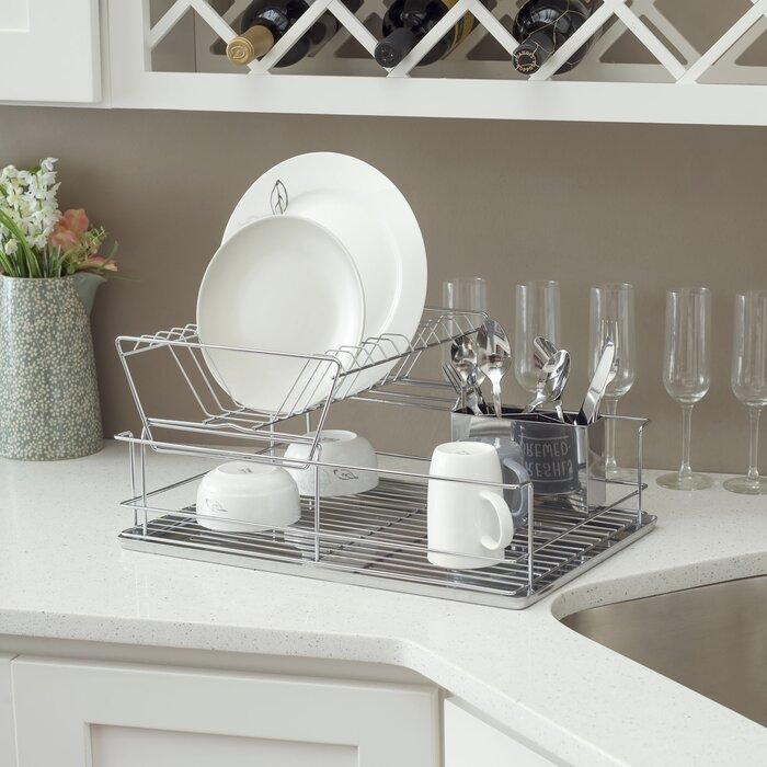 Home Basics 2 Tier Stainless Steel Dish Rack Reviews Wayfair Ca