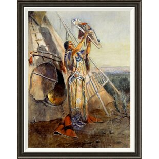 Sun Worship in Montana  by Charles M. Russell Framed Painting Print fdda3eaa94ce2