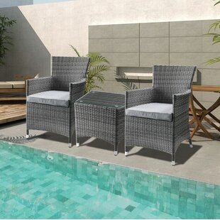 Hobson 3 Piece Bistro Set with Cushions b..
