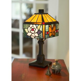 Best Reviews Creasey Rose Butterfly Tiffany Style Stained Glass 11.75 Table Lamp By Fleur De Lis Living