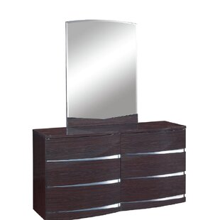 Emely 6 Drawer Double Dresser with Mirror