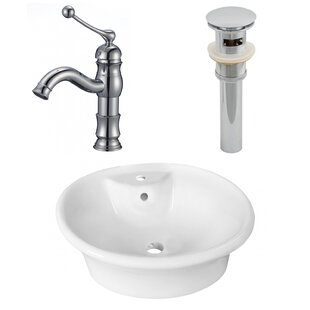 Compare & Buy Ceramic Circular Vessel Bathroom Sink with Faucet and Overflow ByAmerican Imaginations