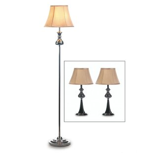 Herlinda Modern 3 Piece Table and Floor Lamp Set