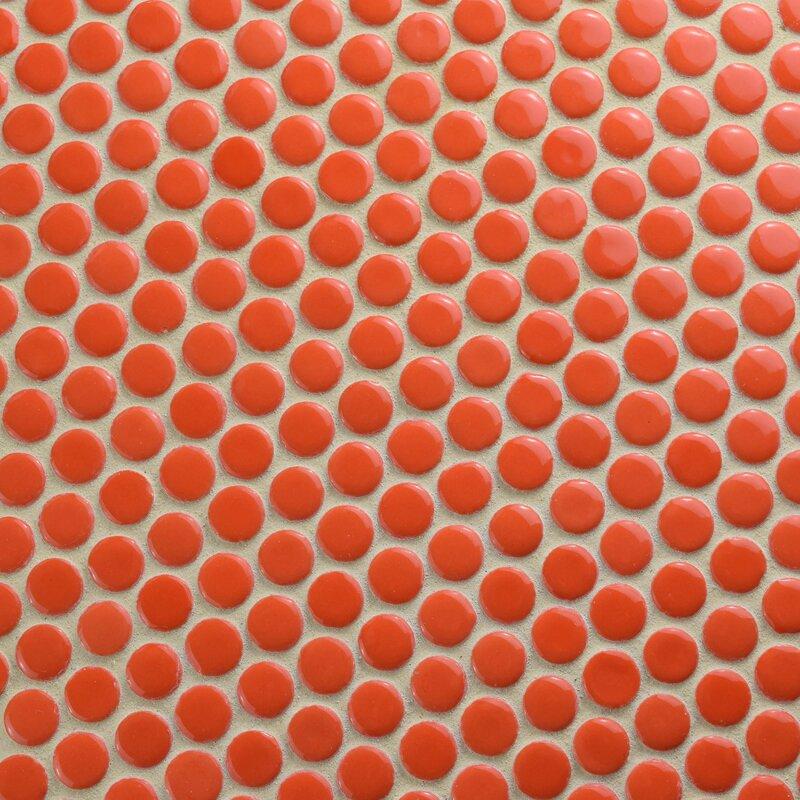 Celestia Penny Round 0 6 X Porcelain Mosaic Tile In Orange