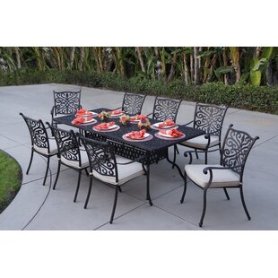 Fleur De Lis Living Belton 9 Piece Dining Set with Cushions
