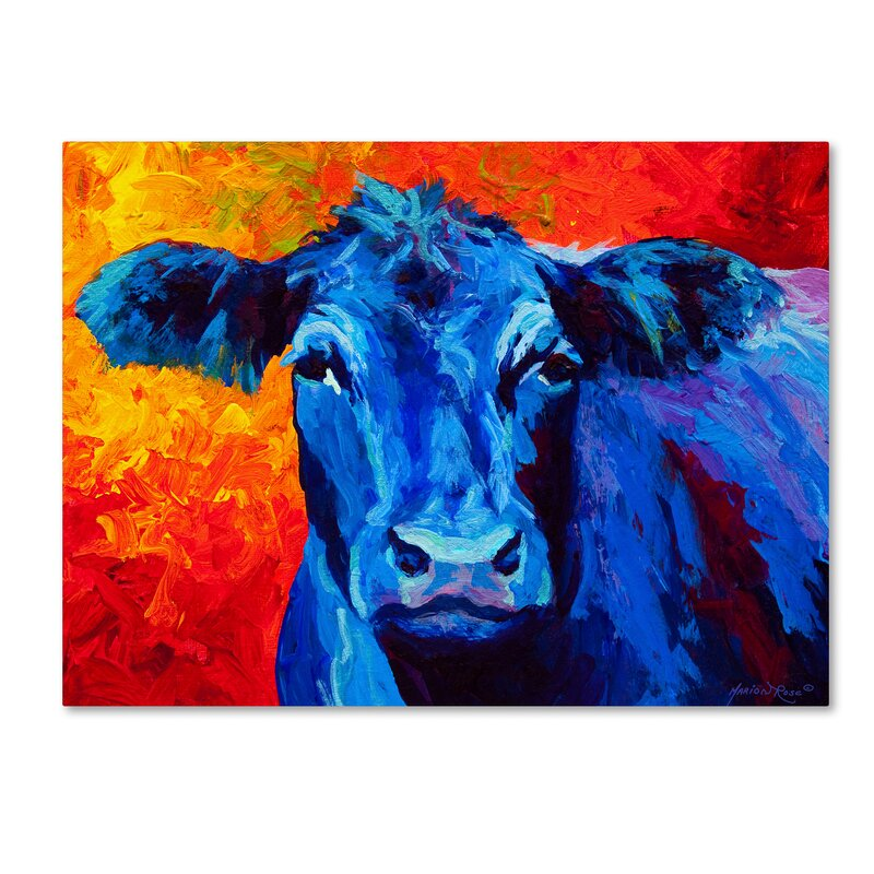 Latitude Run 'Blue Cow' Print On Wrapped Canvas
