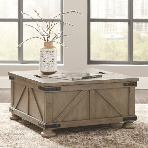 Weathered Grey Oak Coffee Table With Drawer And Open Storage