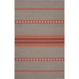 Camarillo Cotton Flat Weave Cement/Red Area Rug