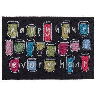 Mcmillan Happy Hour Every Hour Hand-Tufted Black Indoor/Outdoor Area Rug