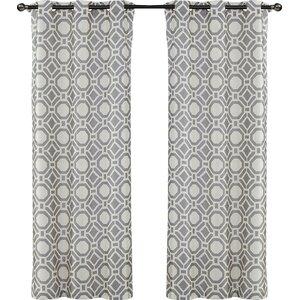 Rathlin Island Geometric Semi-Sheer Grommet Curtain Panels (Set of 2)