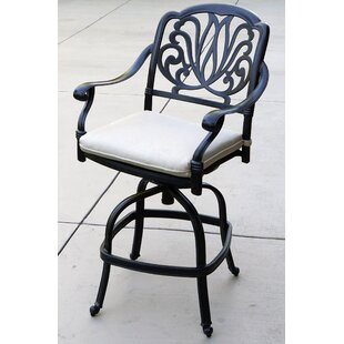Burcham Swivel Patio Bar Stool with Cushion (Set of 4)
