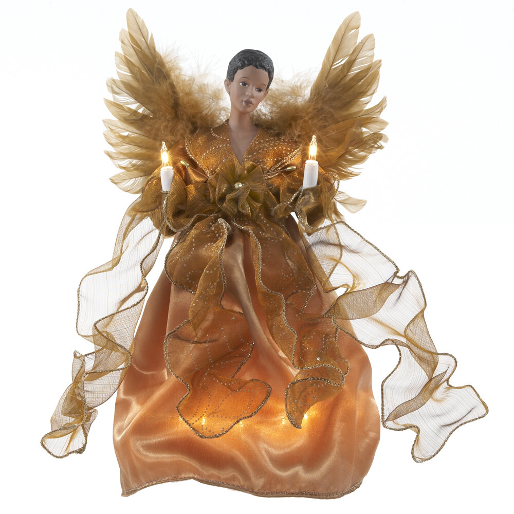 One of a Kind Angel Christmas Angel For The Tree Gold African American Christmas Angel Treetopper Black Holiday Angel Treetop Handmade