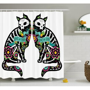 Nettie Day of The Dead Skeleton Cats Festive Celebration Spanish Art Print Single Shower Curtain