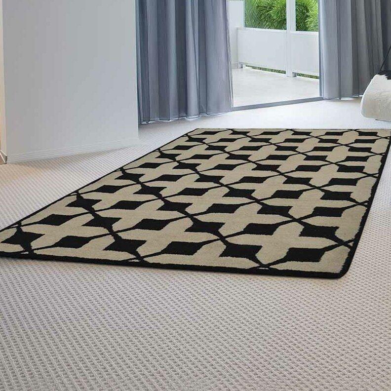 Ebern Designs Housel Geometric Handmade Tufted Wool Black Area Rug Wayfair