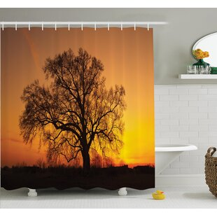 Tree Old Oak in Sunset View Shower Curtain Set